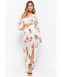 Forever 21 - White Floral Crop Top & Pants Set - Lyst