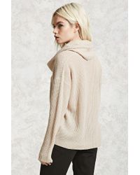 Forever 21 | Natural Cutout Cowl Neck Sweater | Lyst