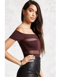 Forever 21 - Multicolor Shadow-stripe Bodysuit - Lyst