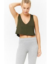Forever 21 - Green Active V-neck Crop Top - Lyst