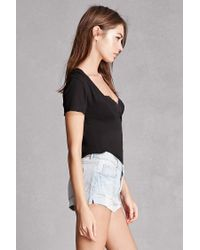 Forever 21 - Black Plunging Heathered Tee - Lyst