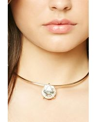 Forever 21 | Metallic Faux Gem Collar Necklace | Lyst