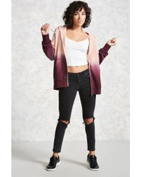 Forever 21 Pink Zip-front Ombre Hoodie