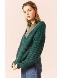 Forever 21 - Green Fuzzy Ribbed Knit Sweater , Emerald - Lyst