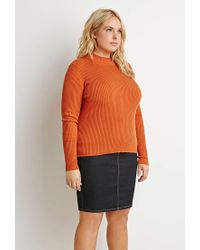 Forever 21 - Orange Plus Size Ribbed Mock Neck Sweater - Lyst