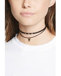 Forever 21 - Natural Faux Leather Layered Choker - Lyst