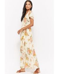 Forever 21 - Natural Floral Faux-wrap Maxi Dress - Lyst