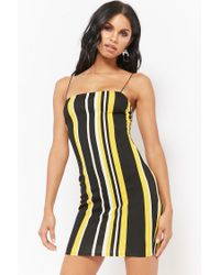 Forever 21 - Yellow Striped Bodycon Cami Dress - Lyst