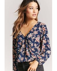 Forever 21 - Blue Floral Print Surplice Top - Lyst