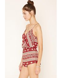 Forever 21 - Red Elephant Print Cami Playsuit - Lyst
