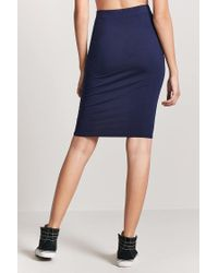 Forever 21 - Blue Stretch-knit Pencil Skirt - Lyst