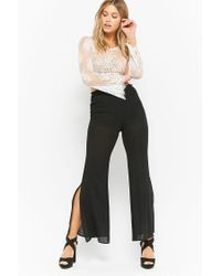 Forever 21 - Black Semi-sheer Smocked Trousers - Lyst