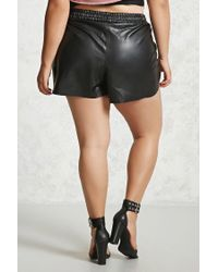Forever 21 - Black Plus Size Faux Leather Shorts - Lyst
