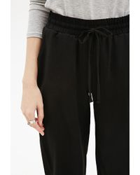 Forever 21 - Black Crepe Drawstring Joggers You've Been Added To The Waitlist - Lyst