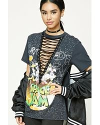 Forever 21 Black Looney Tunes Lace-up Tee