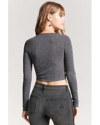 Forever 21 - Gray Self-tie Heathered Top - Lyst