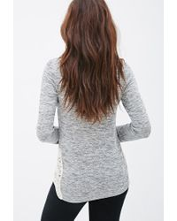 Forever 21 - Gray Crochet-paneled Marled Top - Lyst