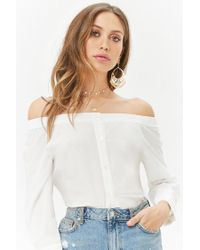 Forever 21 - White Off-the-shoulder Button-front Top - Lyst