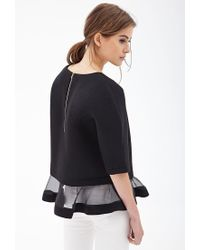 Forever 21 - Black Ruffled Organza Top - Lyst
