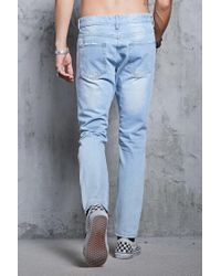 Forever 21 - Blue Distressed Slim-fit Jeans for Men - Lyst