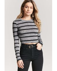 836194c0d1a3b Forever 21 Women s Marled Stripe Lettuce-edge Crop Top in Gray - Lyst