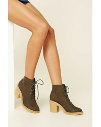 Forever 21 | Green Faux Suede Ankle Booties | Lyst