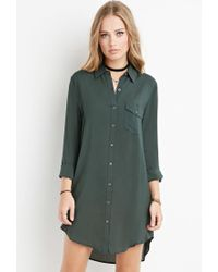 Forever 21 - Green Curved-hem Shirt Dress - Lyst