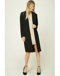 Forever 21 - Black Contemporary Longline Coat - Lyst
