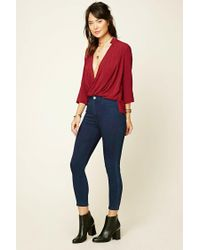 Forever 21 | Red Contemporary Surplice Top | Lyst