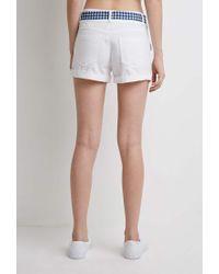 Forever 21 - White Gingham Belt Shorts - Lyst