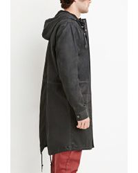 Forever 21 | Black Hooded Longline Cotton Jacket for Men | Lyst