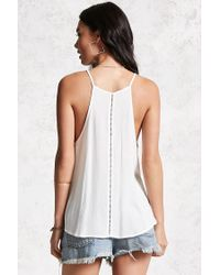 Forever 21 - White Textured Crochet-trim Cami - Lyst