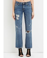 Forever 21 | Blue Distressed Boyfriend Jeans | Lyst