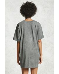 Forever 21 - Gray Heathered T-shirt Dress - Lyst