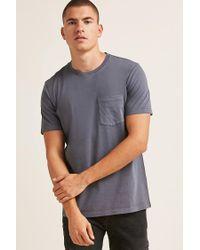 Forever 21 Gray 's Crew Neck Pocket Tee Shirt for men