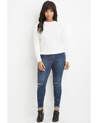 Forever 21 | White Plus Size Ribbed-panel Sweater | Lyst