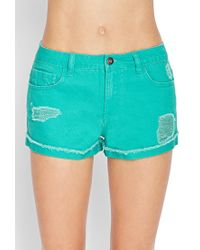 Forever 21 - Blue Distressed Denim Shorts - Lyst