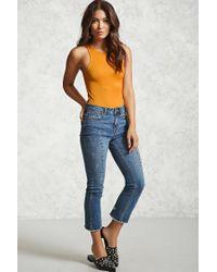 Forever 21 - Orange Ribbed Knit Tank Bodysuit - Lyst