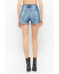 Forever 21 - Blue Women's Distressed Denim Shorts - Lyst