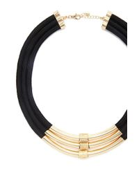 Forever 21 - Black Cord Statement Necklace - Lyst