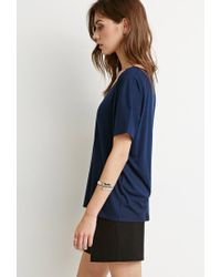 Forever 21 - Blue Classic Ribbed V-neck - Lyst