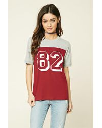 Forever 21 - Red 82 Graphic Colorblock Tee - Lyst