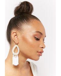Forever 21 - White Tasseled Teardrop Chandelier Earrings - Lyst