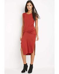 Forever 21 - Gathered Midi Dress - Lyst
