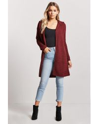 Forever 21 - Red Ribbed Knit Hooded Longline Cardigan - Lyst