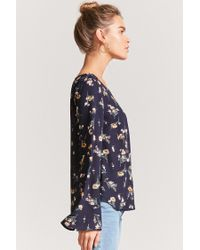 Forever 21 - Blue Floral Bell Sleeve Top - Lyst
