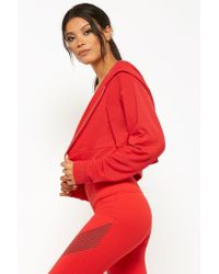 Forever 21 - Red Active Cropped Zip-up Hoodie - Lyst