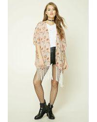 Forever 21 - Natural Floral Tasseled Kimono - Lyst