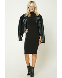 Forever 21 | Black Mock Neck Bodycon Dress | Lyst