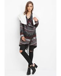 Forever 21 - Gray Geo-patterned Faux Shearling Jacket - Lyst